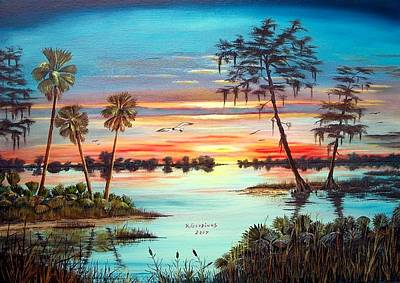 Everglades Sunset Art Print by Riley Geddings