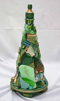 Reclaimed Glass Sculpture - Evergreen by Carol Neal