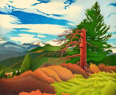 Drawing - Evergreen Overlook by Dan Miller