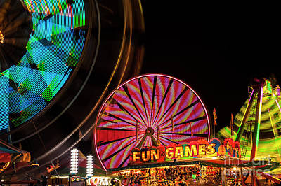 Photograph - Evergreen State Fair Ferris Wheel And Fun Booths by Jim Corwin