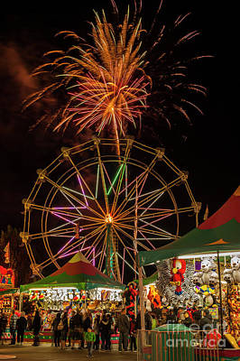 Photograph - Evergreen State Fair Fireworks Display  by Jim Corwin