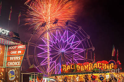Photograph - Evergreen State Fair With Fireworks Show by Jim Corwin
