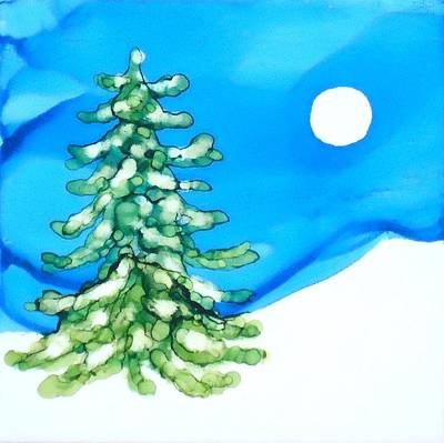 Painting - Evergreen Tree In Winter by Laurie Anderson