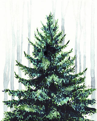 Alaska Scene Painting - Evergreen Tree In Winter Woods Watercolor Painting Christmas Holiday Wintertime  by Laura Row