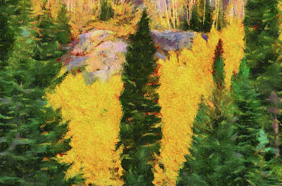 Painting - Evergreens And Autumn by Dan Sproul