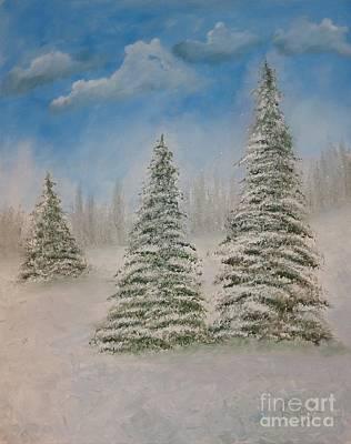 Evergreens In Snow  Art Print