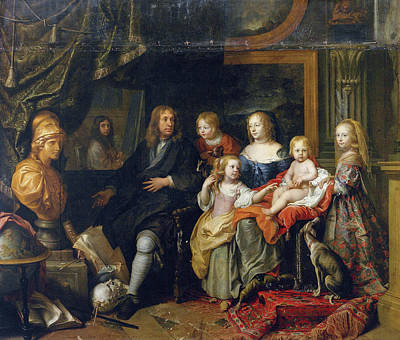 Interior Scene Painting - Everhard Jabach And His Family by Charles Le Brun