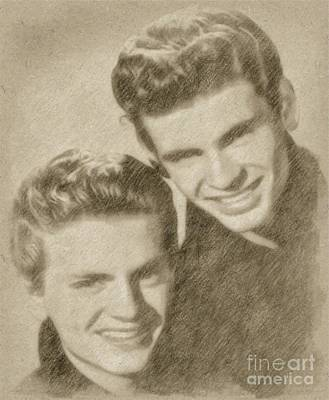 Famous Musician Drawing - Everly Brothers by Frank Falcon