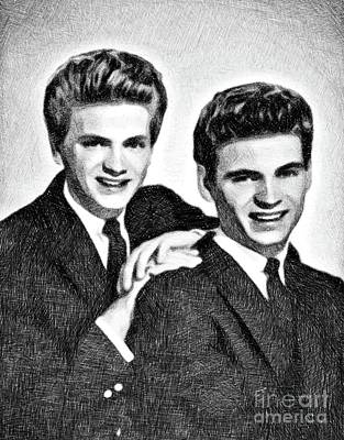 Musicians Drawings - Everly Brothers, Music Legends by JS by Esoterica Art Agency