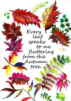 Every Leaf Speaks To Me Fluttering From A Autumn Tree Art Print by Sweeping Girl