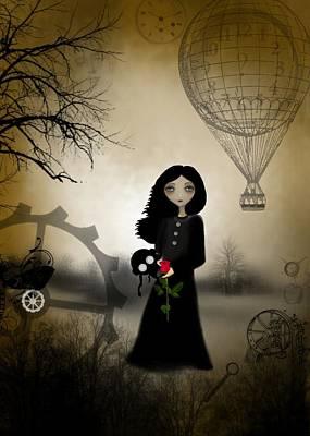 Goth Girl Digital Art - Every Rose Has It's Thorn by Charlene Zatloukal