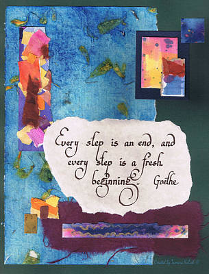 Collage Painting - Every Step Is An End - Green by Tamara Kulish
