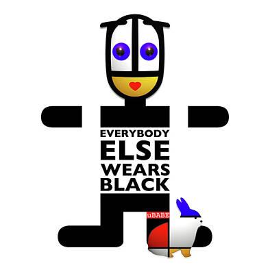 Digital Art - Everybody Else Wears Black by Charles Stuart