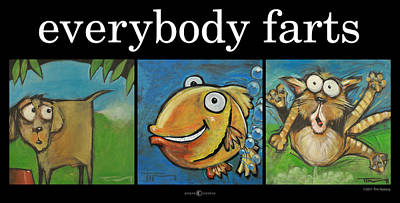 Dog Caricature Painting - Everybody Farts Poster by Tim Nyberg