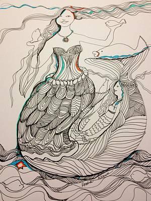 Wall Art - Drawing - Everyone Loves A Mermaid by Rosalinde Reece
