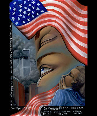 Terrorism Painting - Everything Changes In A New York Minute by Karen Musick