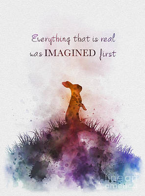 Rabbit Mixed Media - Everything That Is Real Was Imagined First by Rebecca Jenkins