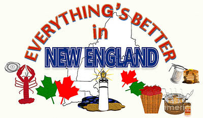 Maple Leaf Art Drawing - Everything's Better In New England by Pharris Art