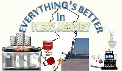 Lightbulb Drawing - Everything's Better In New Jersey by Pharris Art