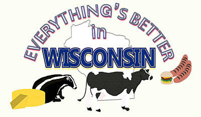 Winter Animals - Everythings Better in Wisconsin by Pharris Art
