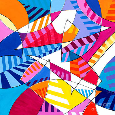 Painting - Everyway-dimensional Stripes by Expressionistart studio Priscilla Batzell