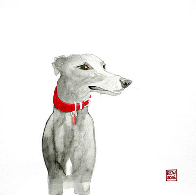 Whippet Painting - Evie by Richard Williamson
