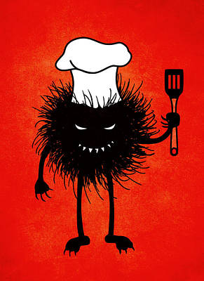 Evil Bug Chef Loves To Cook Art Print by Boriana Giormova