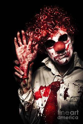 Evil Circus Clown Welcoming You To A Dark Carnival Art Print