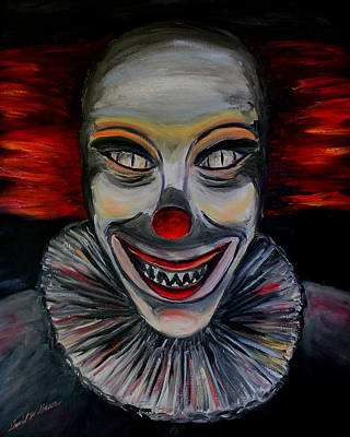 Cemetary Painting - Evil Clown by Daniel W Green
