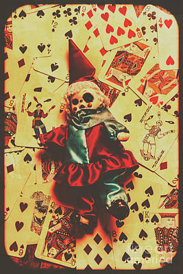 Evil Clown Doll On Playing Cards Art Print by Jorgo Photography - Wall Art Gallery