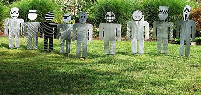 Halloween Decorations. Stainless Steel Art Sculpture - Evil Doers Of Waite Hill by Dawn  Johnson