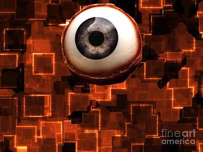 I See You Digital Art - Evil Eye Tote Bag by John Rizzuto