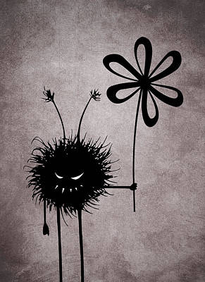 Bug Digital Art - Evil Flower Bug by Boriana Giormova