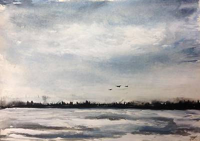 Painting - Evil Geese - Windy Fall Day by Desmond Raymond