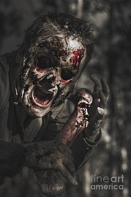 Shock Photograph - Evil Male Zombie Screaming Out In Bloody Fear by Jorgo Photography - Wall Art Gallery