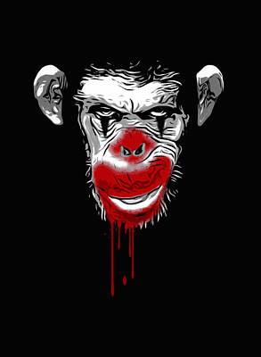 Ape Digital Art - Evil Monkey Clown by Nicklas Gustafsson