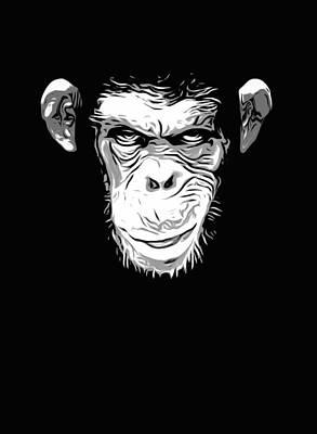 Chimpanzee Digital Art - Evil Monkey by Nicklas Gustafsson