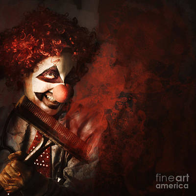 Photograph - Evil Monster Clown Washing Splattered Glass by Jorgo Photography - Wall Art Gallery