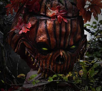 Photograph - Evil Pumpkin Head by Nadalyn Larsen