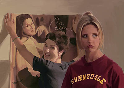 Sarah Michelle Gellar Painting - Evil Roommate by Vincent Martin