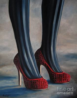 Stilettos Painting - Evil Shoes by Jindra Noewi
