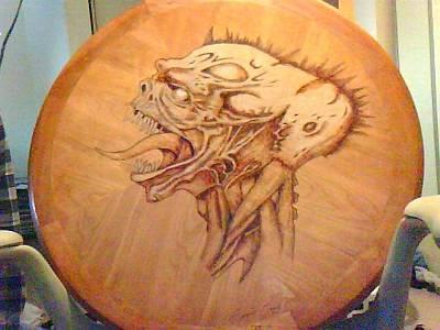 David Gray Pyrography - Evil Skull by David Gray