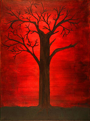 Eerie Painting - Evil Tree by David Stasiak
