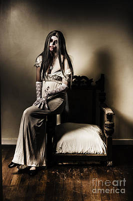 Vampire Photograph - Evil Vampire Woman In Old Grunge Haunted House by Jorgo Photography - Wall Art Gallery