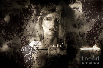 Evil Vampire Woman Looking Into Bloody Mirror Art Print by Jorgo Photography - Wall Art Gallery