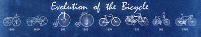 Photograph - Evolution Of The Bicycle In Blue by Bill Cannon