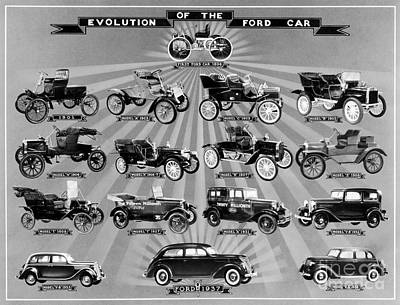 Photograph - Evolution Of The Ford Car by Granger