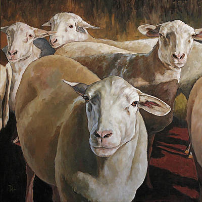 Painting - Ewes In The Paddock by Joan Frimberger