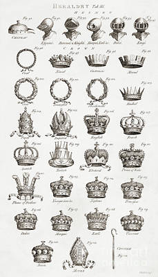 Tiara Drawing - Examples Of Crowns, Coronets And Helmets by Anonymous
