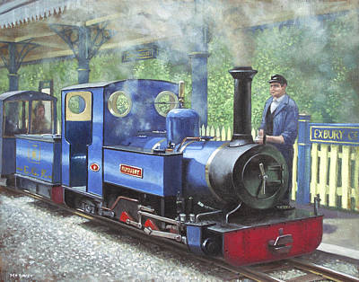 Painting - Exbury Steam Locomotive With Driver by Martin Davey
